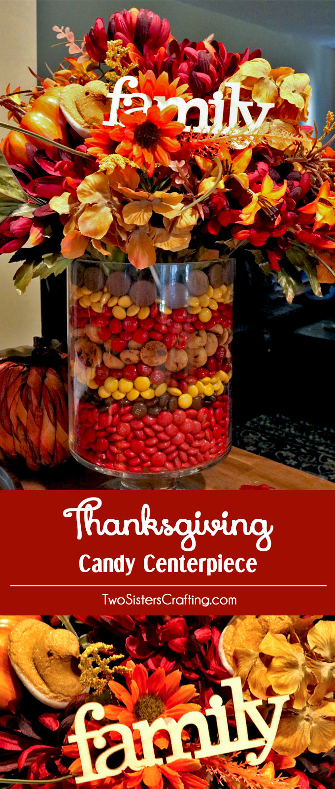 Thanksgiving Candy Centerpiece - this adorable Fall Centerpiece will be everyone's favorite Thanksgiving decoration - so fun and so easy to make. All you need are M&M's, Peeps and some flowers to make this cute Thanksgiving Craft. Follow us for more fun Thanksgiving Dinner table ideas.
