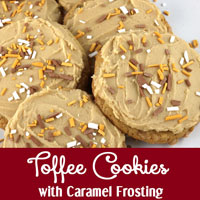 Toffee Cookies with Caramel Frosting