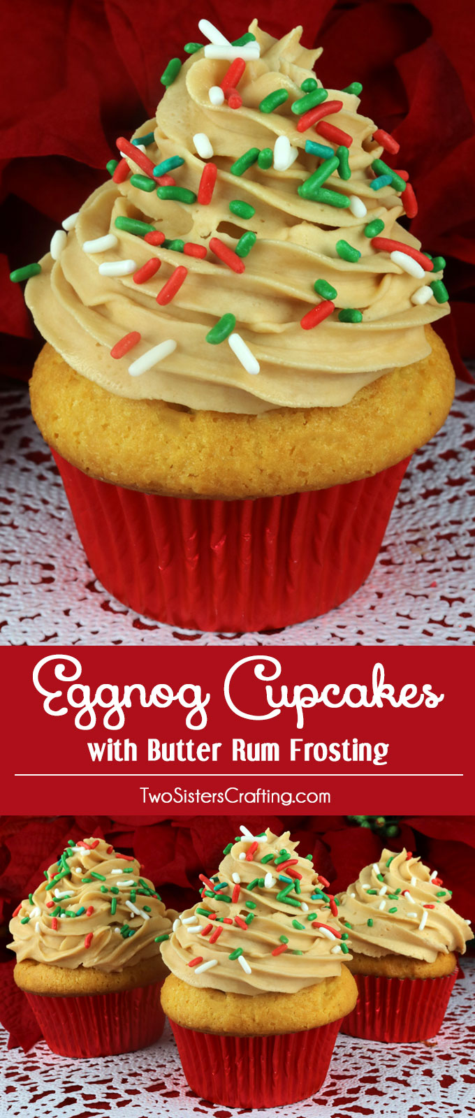 Eggnog Cupcakes with Butter Rum Frosting - a beautiful Christmas ...