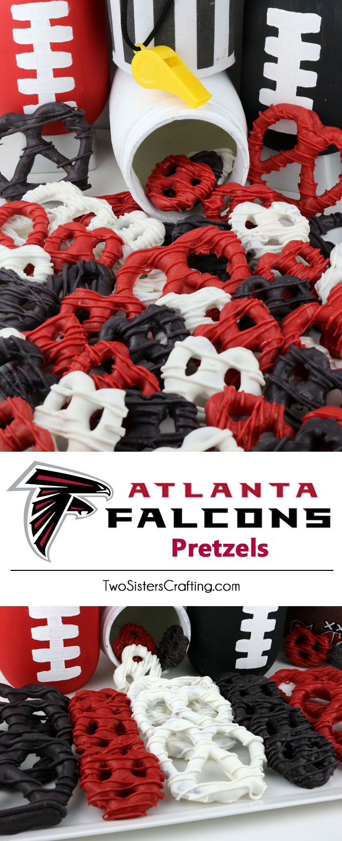 Atlanta Falcons Pretzels - yummy bites of sweet and salty Football Game Day goodness that are super easy to make. They are perfect as a little extra treat at a NFL playoff party, a Super Bowl party or as a special dessert for the Atlanta Falcons fan in your life. Follow us for more fun Super Bowl Food Ideas.