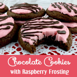 Chocolate Cookies with Raspberry Frosting