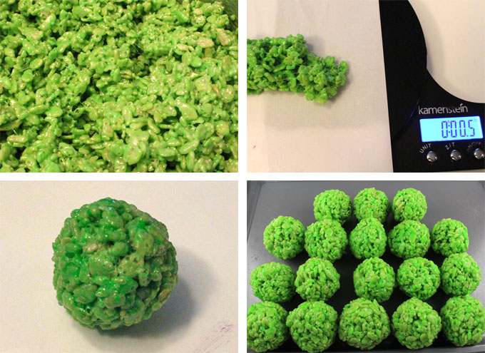 How to make Bright Green Rice Krispie Bites