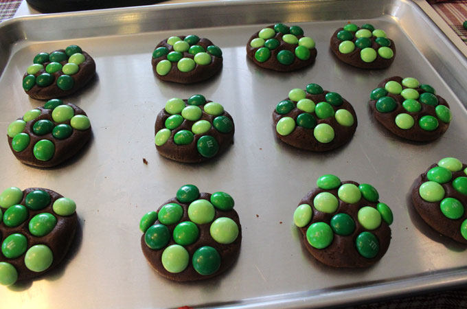 Press Mint M&M's onto the cookie dough