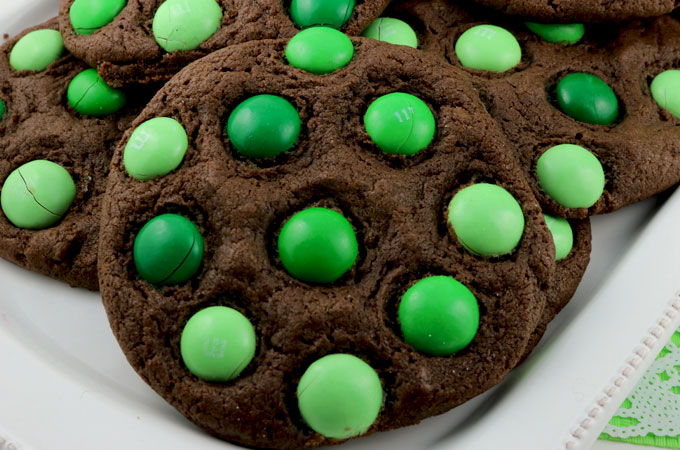 St. Patrick's Day Mint M&M Cookies - a fun and colorful St. Patrick's Day dessert. These colorful St Patrick's Day cookies are delicious and easy to make. Pin this delicious St. Patrick's Day treat for later and follow us for more great St. Patrick's Day Food Ideas.