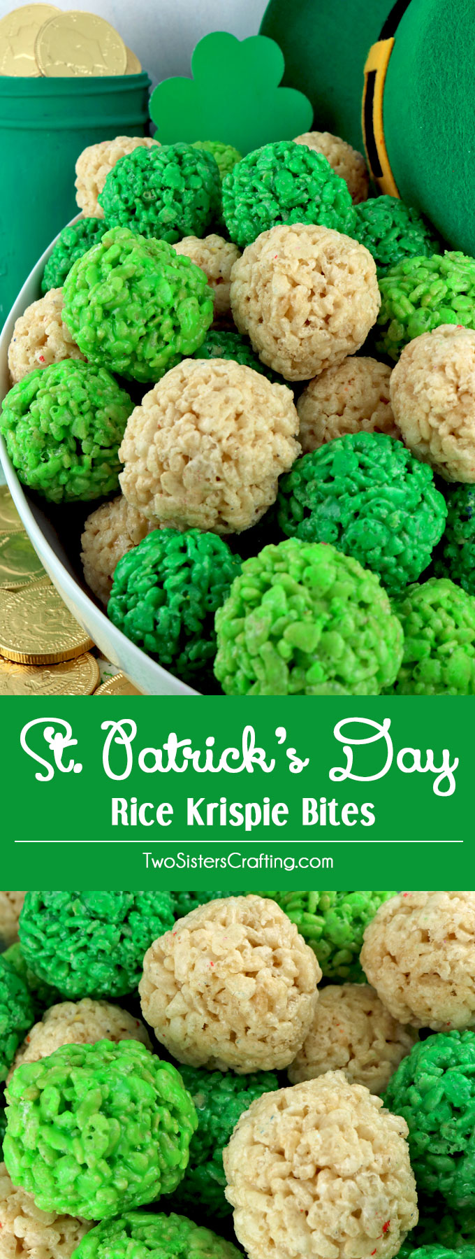 St. Patrick's Day Rice Krispie Bites - Yummy, bite-sized balls of crunchy, marshmallow-y delight. This is a St Patrick's Day dessert that is easy to make and even yummier to eat. These colorful and festive St Patrick's Day Treats are sure to please your loved ones. Pin this fun St. Paddy's Day snack for later and follow us for more fun St. Patrick's Day Food Ideas.