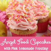 Angel Food Cupcakes with Pink Lemonade Frosting