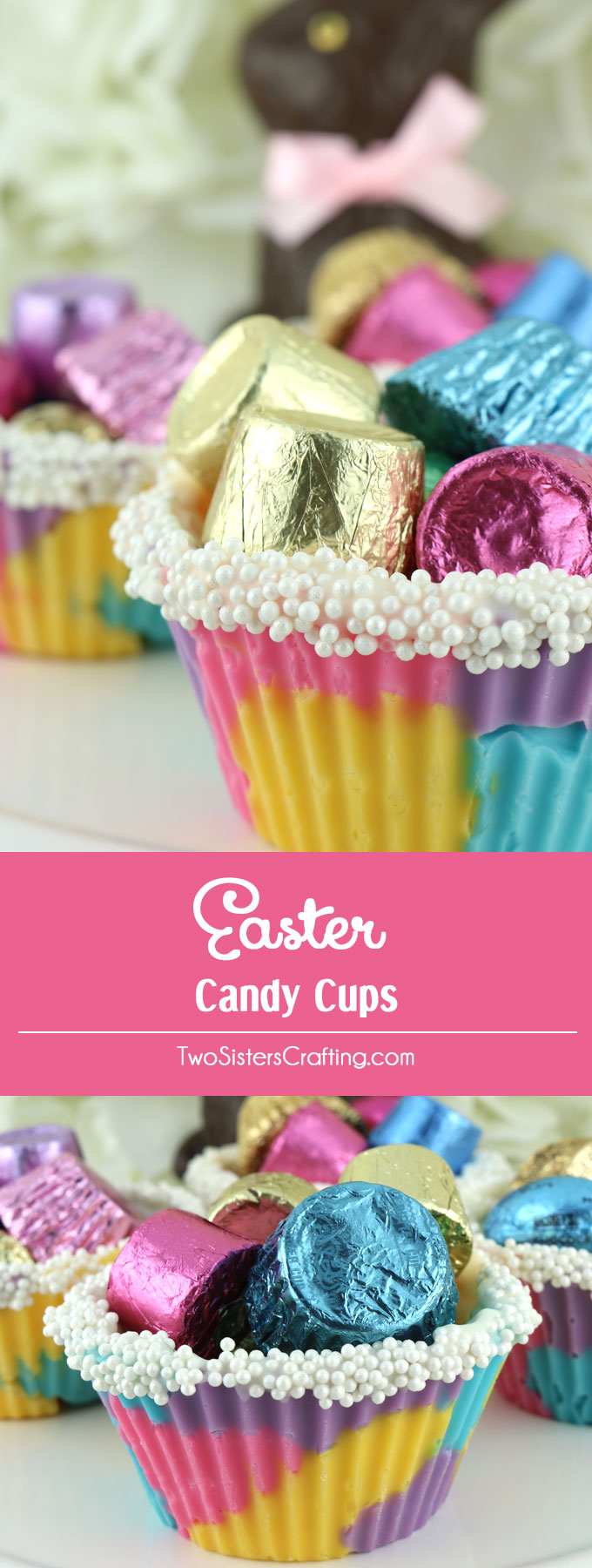 Easter Candy Cups - We took colorful candy melts and turned them into a homemade edible candy cup that can be filled with anything the Easter Bunny might have in his basket .. candy, jelly beans, small toys or even a yummy pudding or mousse! What a fun Easter Treat or a base of a yummy Easter Dessert. Pin this easy to make Easter Craft for later and follow us for more great Easter Food Ideas.