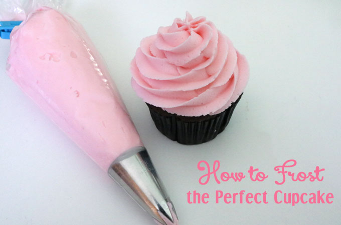How to Frost the Perfect Cupcake - step by step instructions with a video on how to create a beautiful frosting swirl on a cupcake. We will teach you how to frost beautiful cupcakes. We taught ourselves how to make a icing swirl and you can learn to to make pretty cupcakes too. Pin this Cupcake Frosting Tip for later and follow us for more Cupcake decorating ideas.
