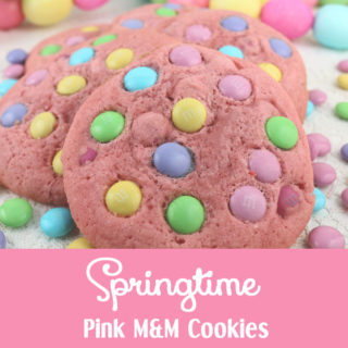 Springtime Pink M&M Cookies