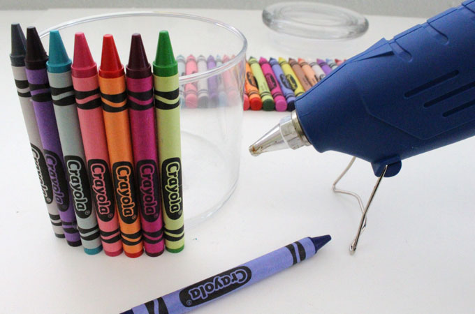 Continue adding crayons to the jar
