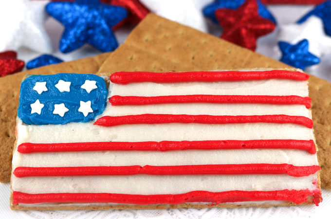 American Flag Frosted Graham Crackers Two Sisters