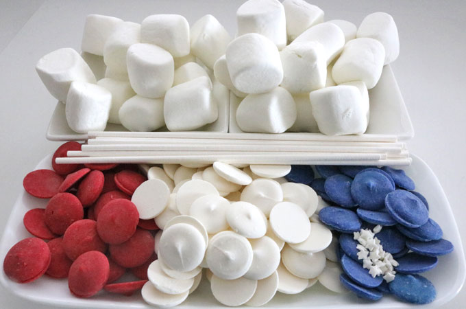 Ingredients of American Flag Marshmallow Pops