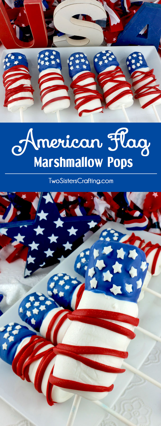American Flag Marshmallow Pops are a unique and delicious 4th of July treats. So easy to make and you won't believe how delicious this Red White and Blue is to eat. They would be a fun Fourth of July dessert for a 4th of July Party, a Memorial Day BBQ or even an Olympics viewing party. Pin this great 4th of July dessert for later and follow us for more fun 4th of July Food ideas.