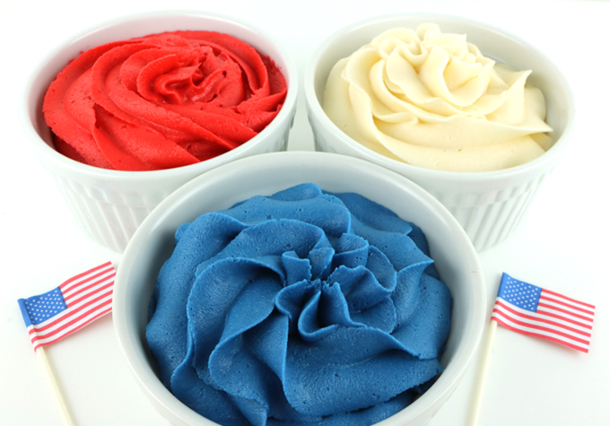 Patriotic Red White and Blue Frosting