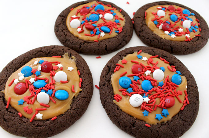 Add M&M's and Sprinkles to the Patriotic Extreme Cookies