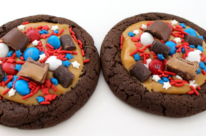 Add chocolate candy to the Patriotic Extreme Cookies
