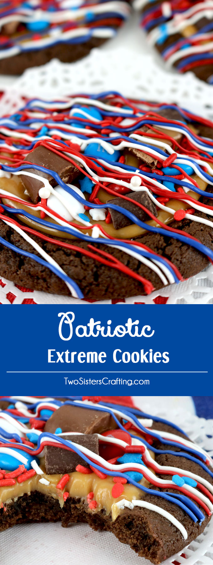 Patriotic Extreme Cookies - a fun over the top 4th of July cookie featuring chocolate cookies, caramel, red white and blue candy mix-ins and sprinkles. This Fourth of July dessert will wow the guests at your 4th of July party or Memorial Day Barbecue. Pin this 4th of July treat for later and follow us for more great 4th of July Food ideas.