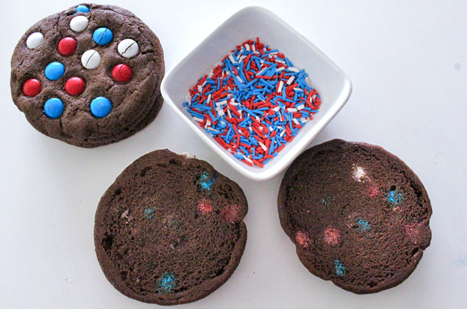 Assembling the Patriotic Ice Cream Sandwiches