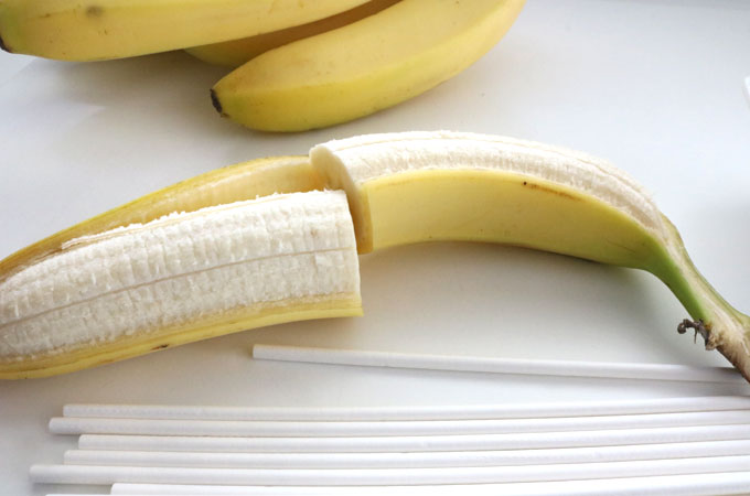 Cut Bananas in half