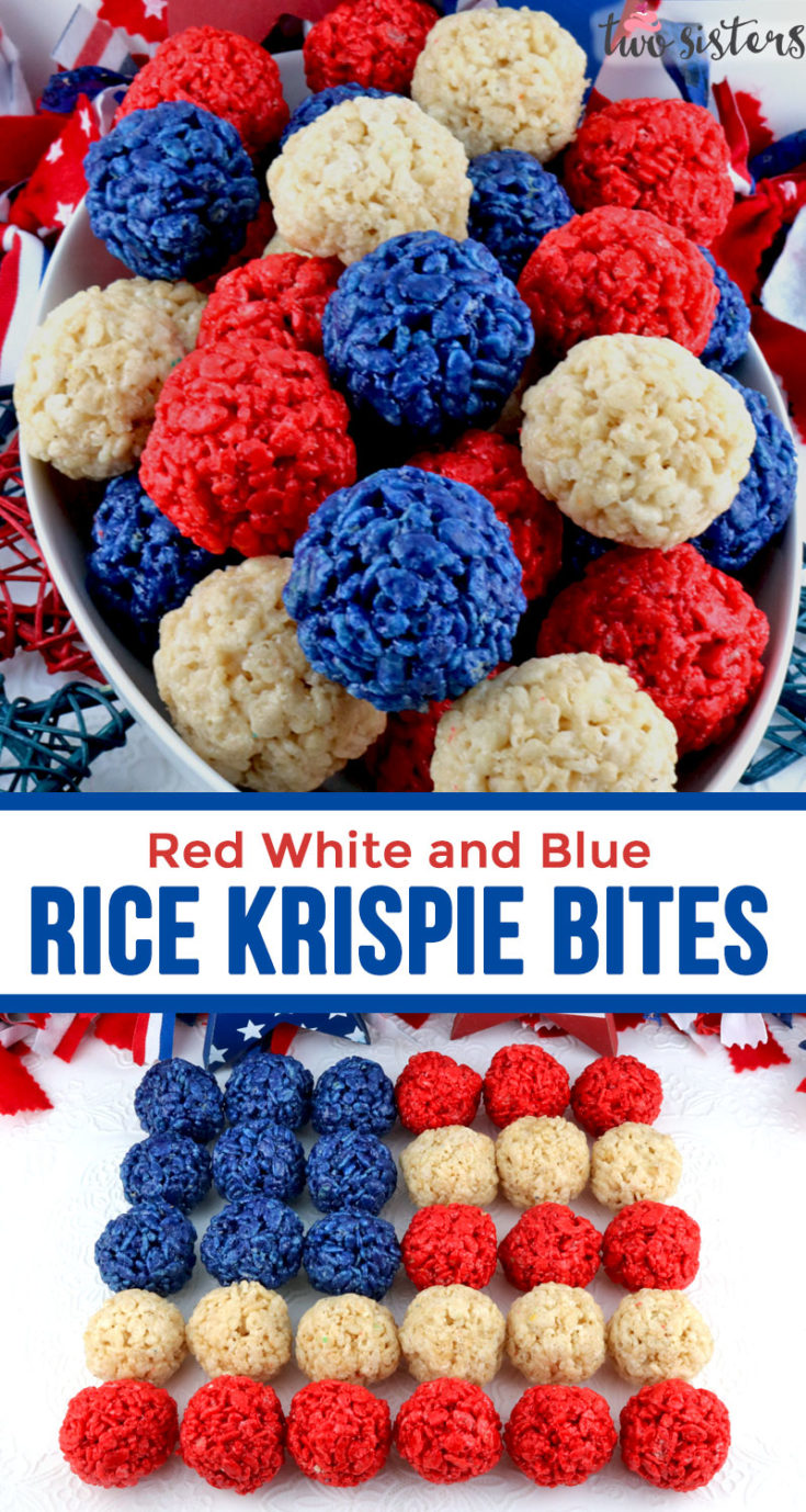 Red White And Blue Rice Krispie Bites Two Sisters