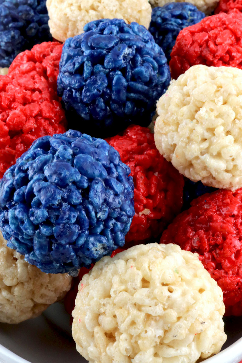 Red White and Blue Rice Krispie Bites - Two Sisters