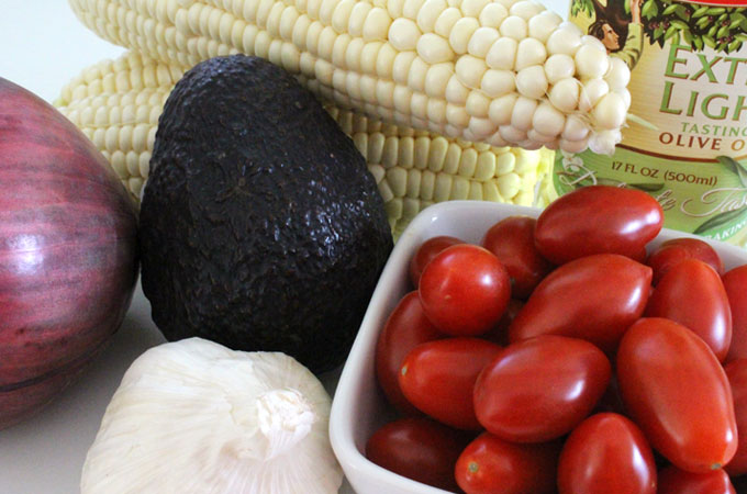 ingredients for Corn and Avocado Summer Salad
