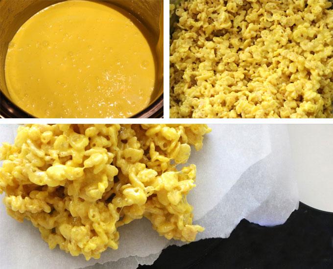 Yellow Rice Krispie Treat mixture for Minions Rice Krispie Treats