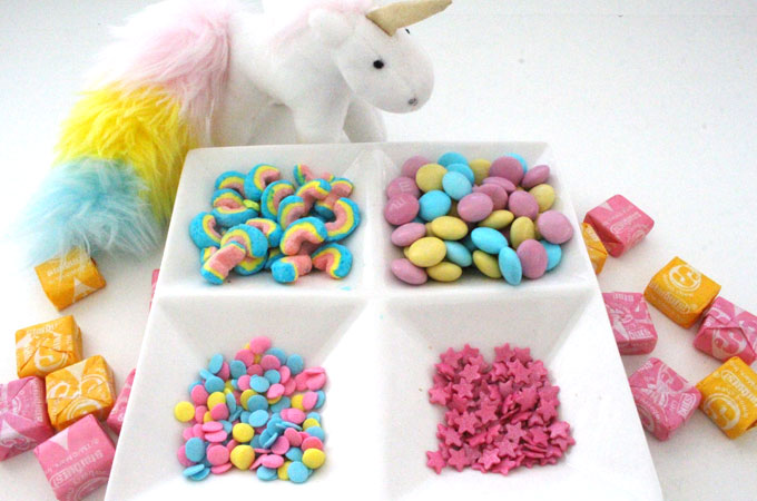 Candy mix-ins for Unicorn Popcorn