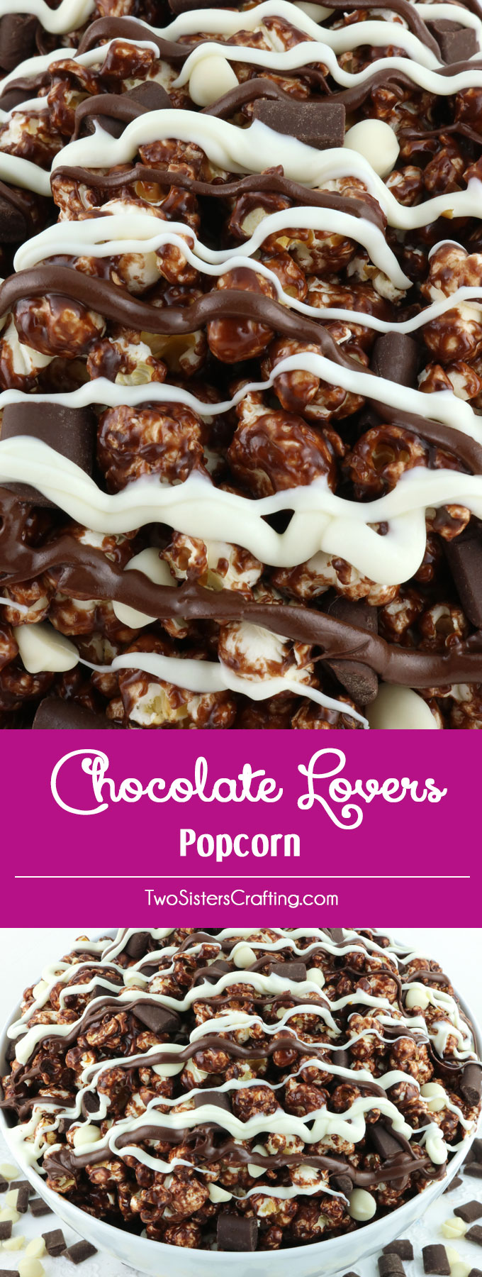 Chocolate Lovers Popcorn - sweet and salty popcorn covered in chocolate, marshmallows and yummy white and dark chocolate candy. A delicious Chocolate dessert that is super easy to make! It would be a great anytime snack or family movie night dessert! Pin this delicious popcorn treat for later and follow us for more great Popcorn Recipe Ideas.
