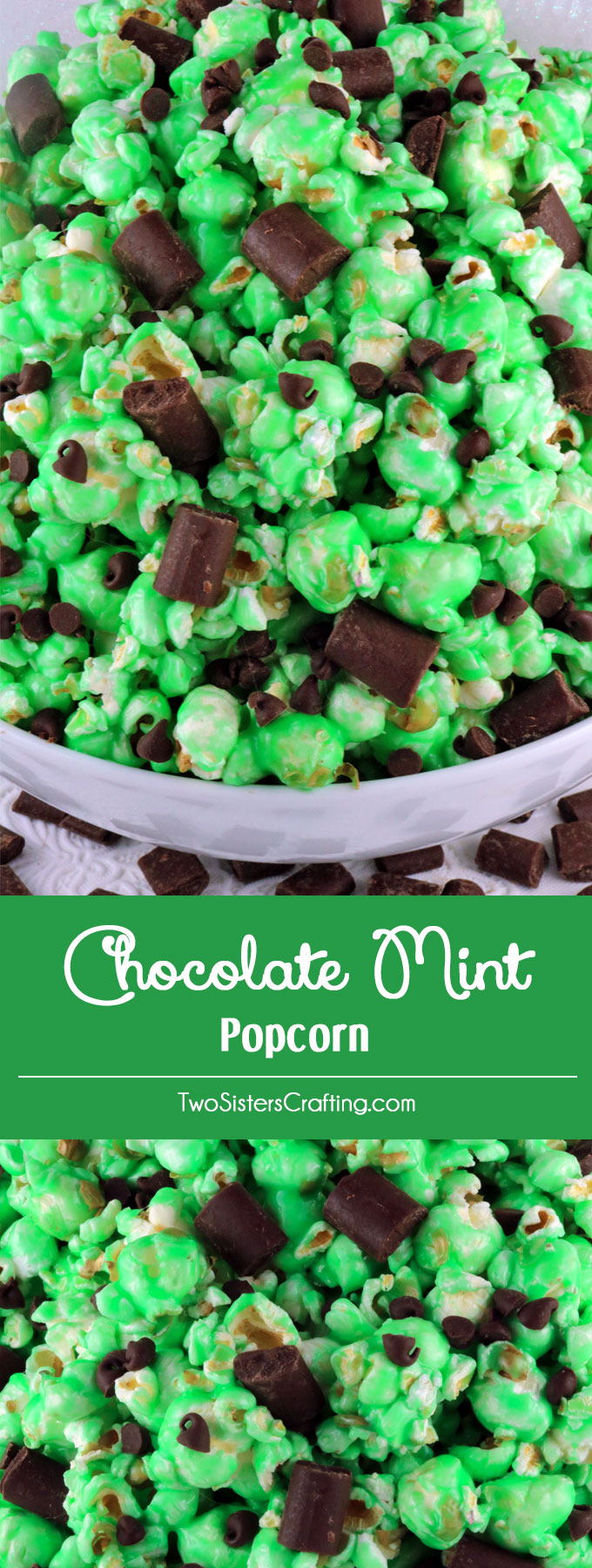 Chocolate Mint Popcorn - this sweet and salty popcorn covered in minty marshmallow and tossed with chocolate chips will be a big hit with your family. It is both fun and delicious, a great combination! A fun anytime snack that would also be a great treat for Family Movie Night. Pin this easy to make dessert for later and follow us for more great Popcorn Recipe Ideas.