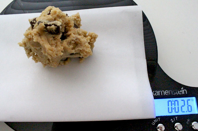 Use Food Scale to measure cookie dough