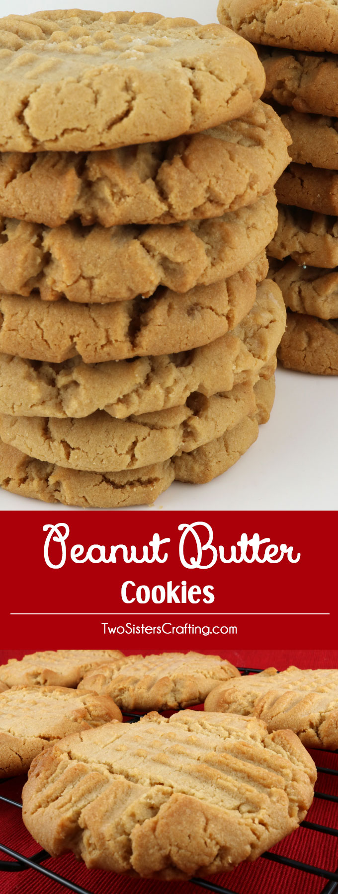 Peanut Butter Cookies - Crunchy on the outside, chewy and peanut-buttery on the inside.  These cookies are Mmmmm .... mmmmm... good. These yummy baked peanut butter cookies are easy to make and super delicious. Pin this yummy Cookie Recipe for later and and follow us for more great Cookie Ideas.