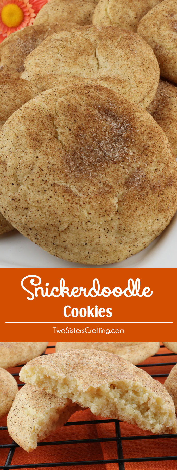 Snickerdoodle Cookies - these soft, chewy, fluffy cinnamon cookies are easy to make and delicious to eat. This classic cookie recipe is a keeper. Snickerdoodles are always a crowd favorite and this cookie recipe is no exception. Pin this melt in your mouth cinnamon cookie recipe for later and follow us for more yummy cookie recipes.