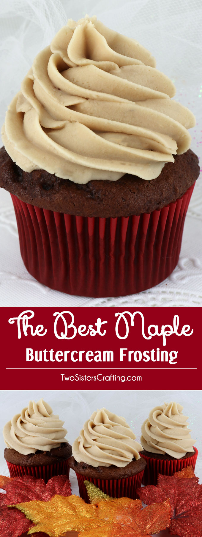 This is definitely The Best Maple Buttercream Frosting we have ever tasted and it is so easy to make. Sweet, creamy and delicious just like the icing on a Maple Donut this homemade icing recipe will wow your family and party guests. It is the perfect Fall frosting for cupcakes, cakes or cookies! Pin this Thanksgiving dessert for later and follow us for more great Frosting recipe ideas.