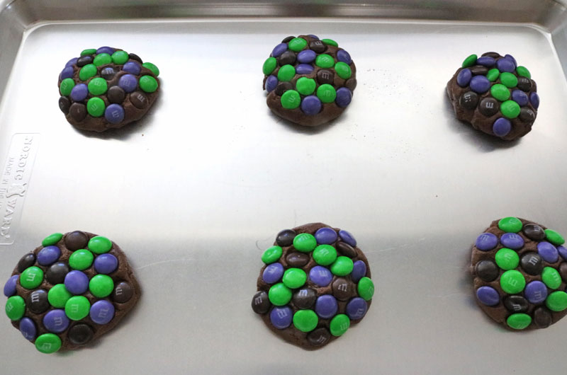 Bewitched M&M Cookies ready for oven