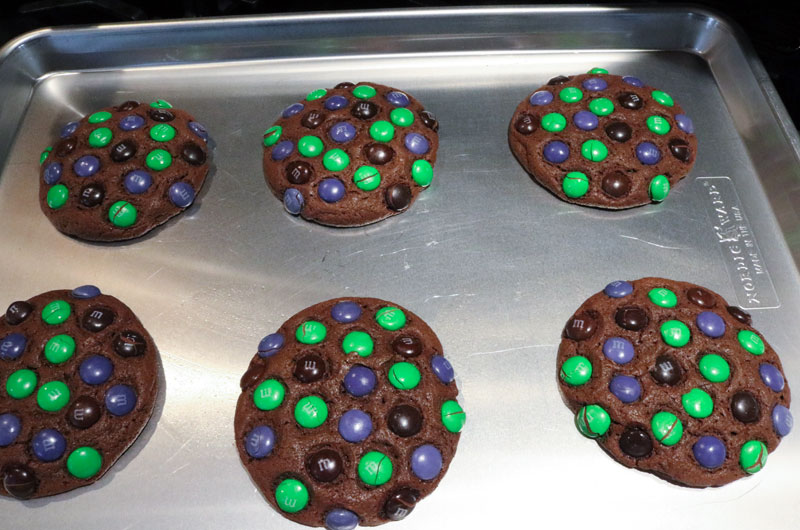 Bewitched M&M Cookies out of the oven