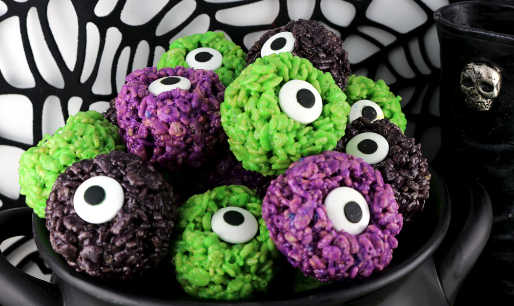 Monster Eye Balls Rice Krispie Bites Two Sisters