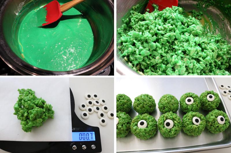 How to make Green Monster Eye Ball Rice Krispie Bites