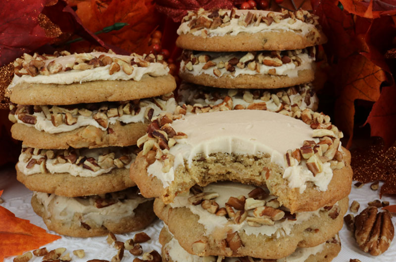 Pecan Cookies With Maple Buttercream Frosting Two Sisters