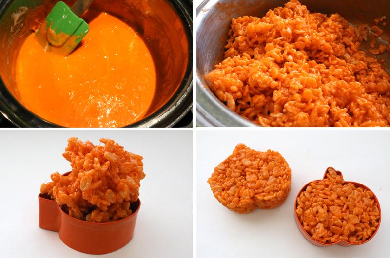Orange Rice Krispie Treat Mixture