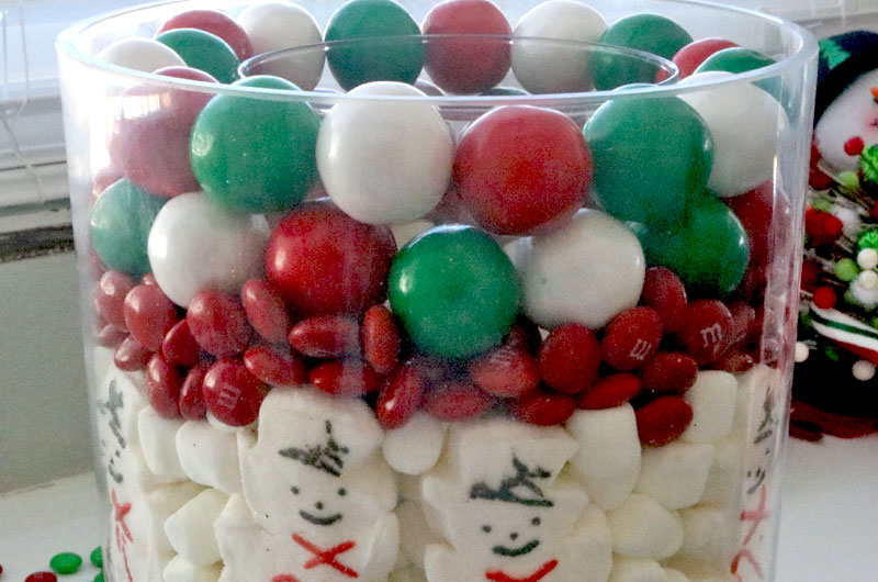 Assembling the Christmas Candy Centerpiece