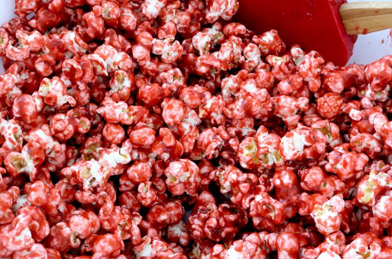 Mix Caramel mixture with the popcorn
