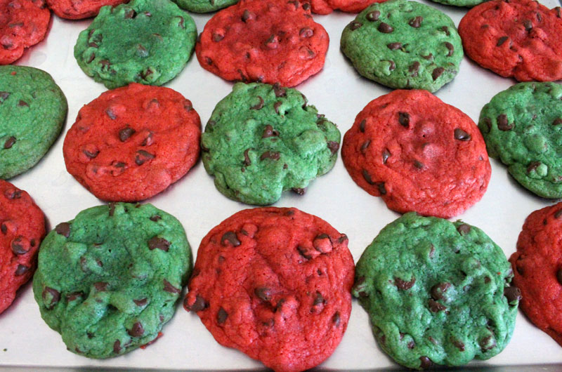Christmas Chocolate Chip Cookies out of the oven