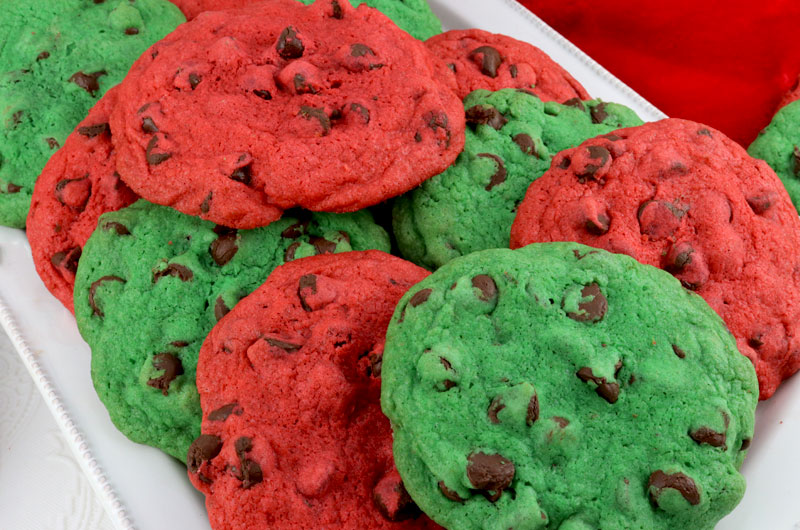 christmas chocolate chip cookies a classic cookie in christmas red and green what a