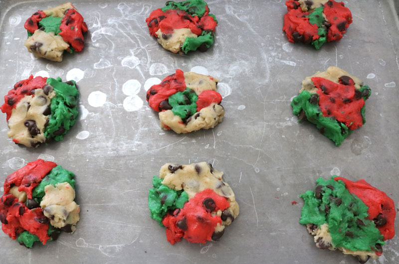 Christmas Marble Chocolate Chip Cookies ready to bake