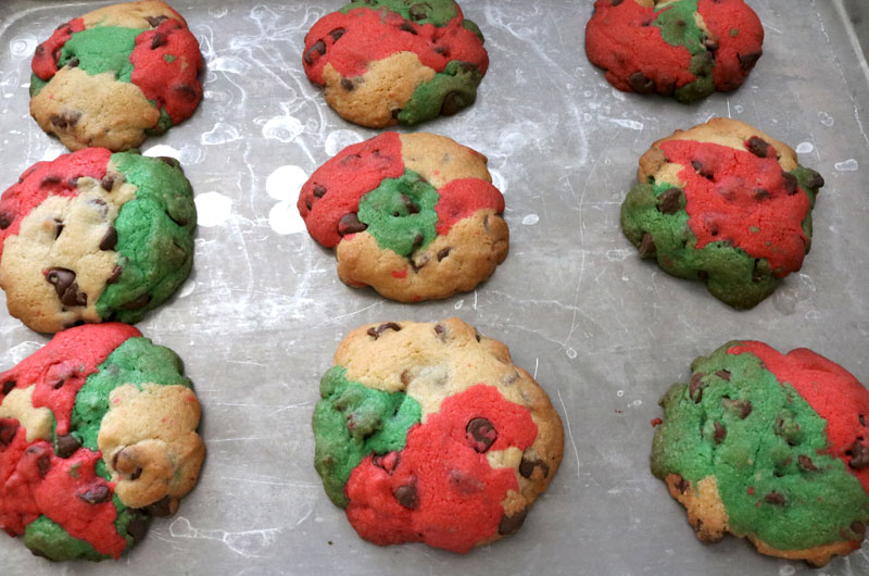 Christmas Marble Chocolate Chip Cookies out of the oven