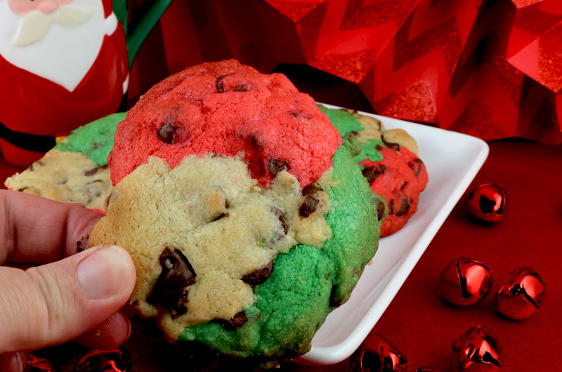 Christmas Marble Chocolate Chip Cookies - a classic cookie all dressed up for Christmas. A delicious Christmas cookie that will wow your family and friends. This unique and tasty Christmas Cookie Recipe would be a great Christmas dessert idea for a Christmas Party, a holiday gift basket or a Christmas Cookie exchange. Pin this delicious Holiday marble cookie recipe for later and follow us for more great Christmas Food ideas. #ChristmasCookies #ChristmasDesserts #ChristmasTreats