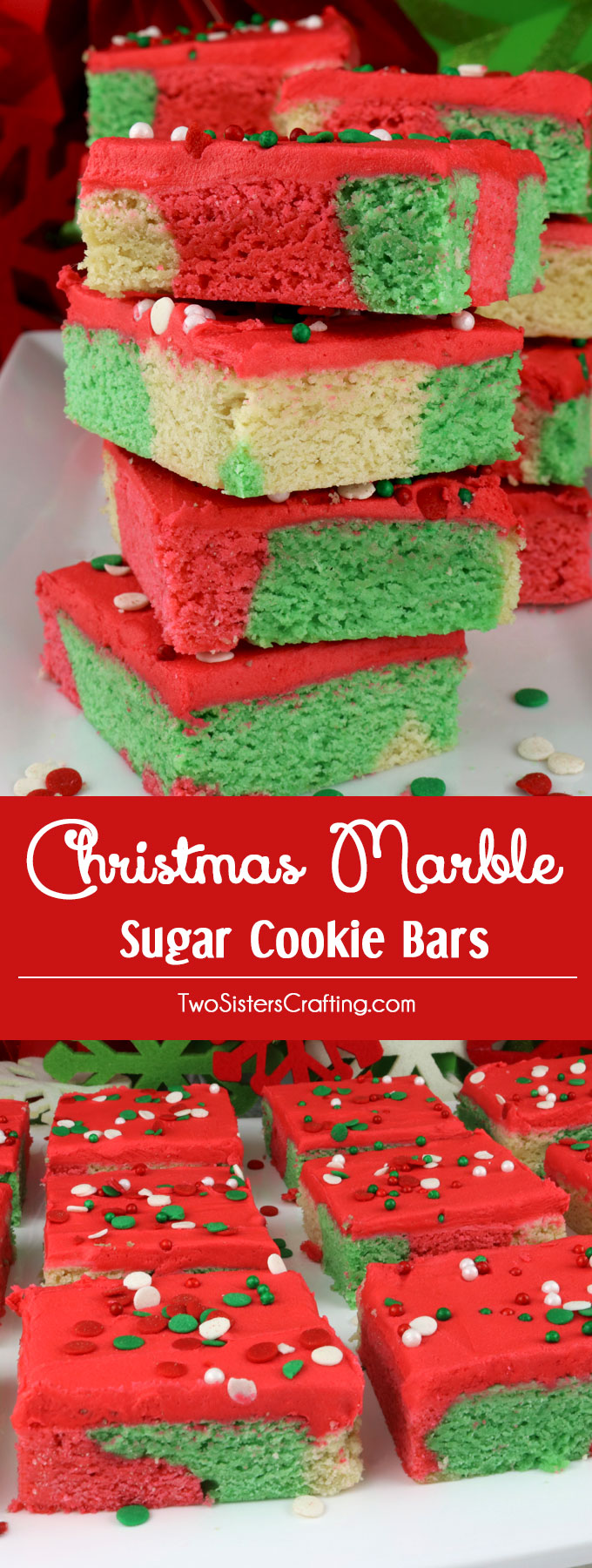 Christmas Marble Sugar Cookie Bars - Two Sisters Crafting