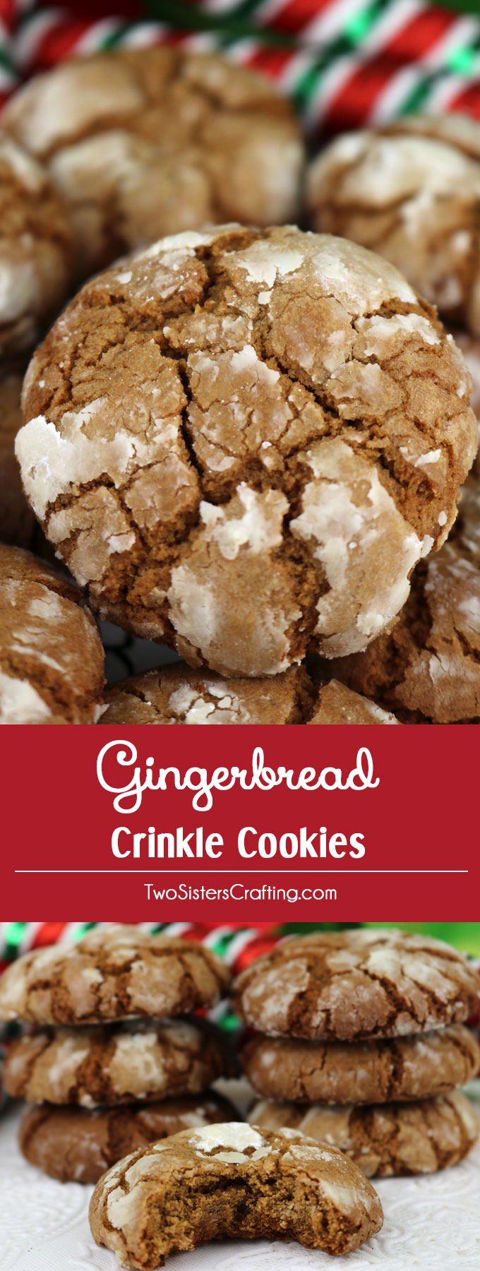 Gingerbread Crinkle Cookies - light, fluffy and spicy on the inside and sweet and crunchy on the outside. A yummy homemade Gingerbread cookie recipe. This classic Christmas cookie recipe is a keeper.  This fun and easy treat would be a great Christmas dessert idea for a Christmas Party, a holiday gift basket or a Christmas Cookie exchange. Pin this easy Holiday cookie recipe for later and follow us for more great Christmas Food ideas. #ChristmasCookies #ChristmasDesserts #ChristmasTreats