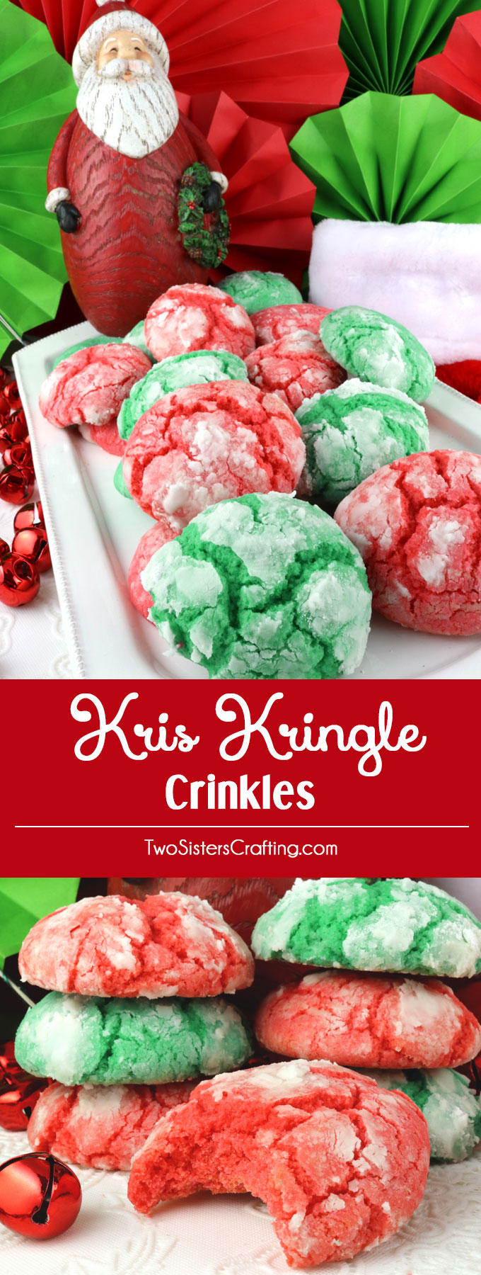 Kris Kringle Crinkles - light and fluffy on the inside and sweet and crunchy on the outside. A yummy homemade Crinkle cookie recipe that is not made from a cake mix. This classic Christmas cookie recipe is a keeper.  This fun and easy treat would be a great Christmas dessert idea for a Christmas Party, a holiday gift basket or a Christmas Cookie exchange. Pin this easy Holiday cookie recipe for later and follow us for more great Christmas Food ideas. #ChristmasCookies #ChristmasDesserts #ChristmasTreats